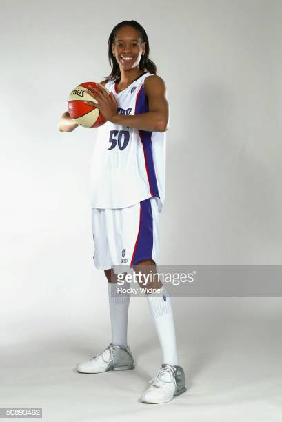 Tangela Smith of the Sacramento Monarchs poses for a portrait during the 2004 WNBA Media Day at Arco Arena on May 17 2004 in Sacramento California...