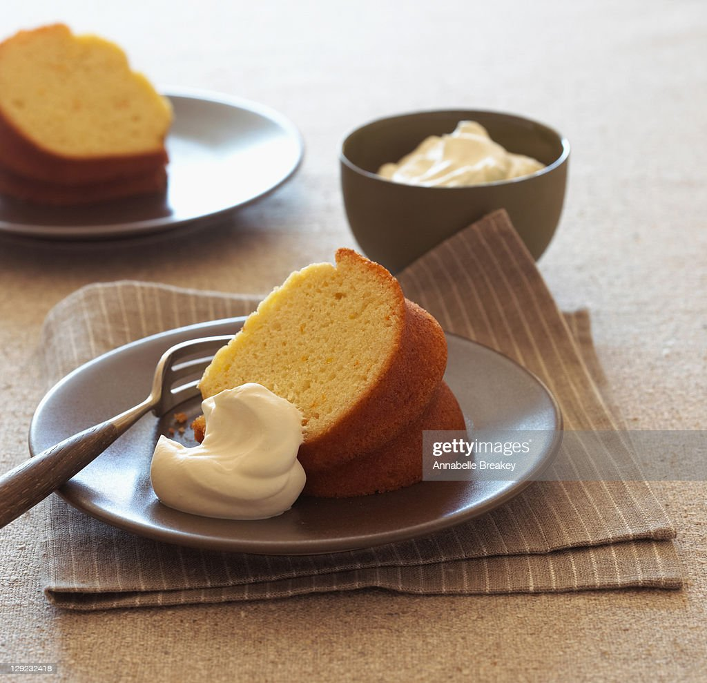 Tangerine Olive Oil Pound Cake, Whipped Cream : Stock Photo