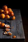 tangerines in general on a wooden table