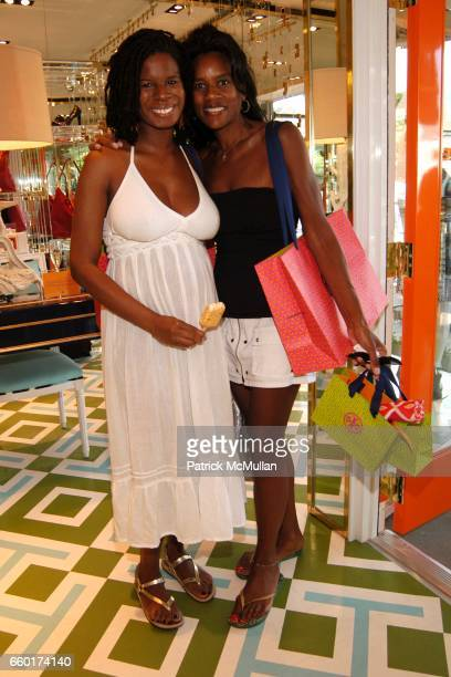 Tangie Murray and Tybie Dotson attend Kick Off for ART FOR LIFE East Hampton with an afternoon of shopping cocktails at Tory Burch at Tory Burch on...