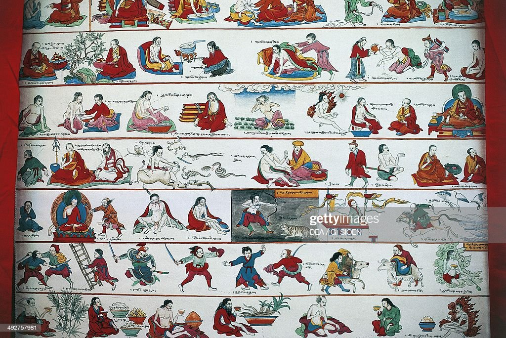 Tangka or Thangka (painted or embroidered Buddhist banner) depicting cures for sicknesses, Lhasa, Tibet, China.