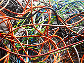 Tangled electrical cables