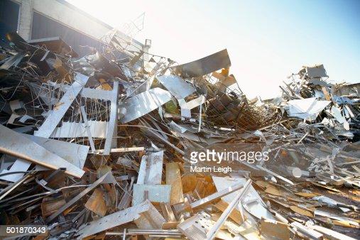 Tangled heap of aluminium in scrap yard