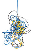Bunch of messy tangled ethernet network cables isolated on white background