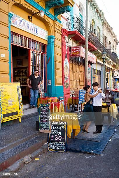 Tango dancing outside Zarate Bar in La Boca district.