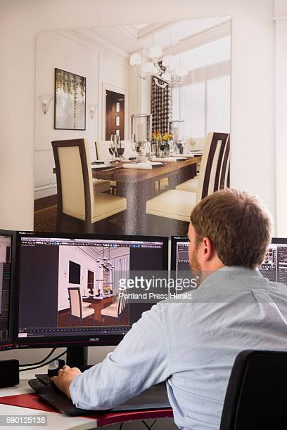 Tangram 3DS Director of Visualization Jared Foley works on a #D design iin their Kittery Maine office on August 9 2016