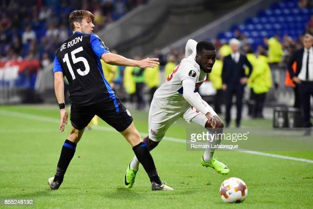 Tanguy Ndombele Alvaro and Marten De Roon of Bergame during the Uefa Europa League match between Lyon and Atalante Bergame on September 28 2017 in...