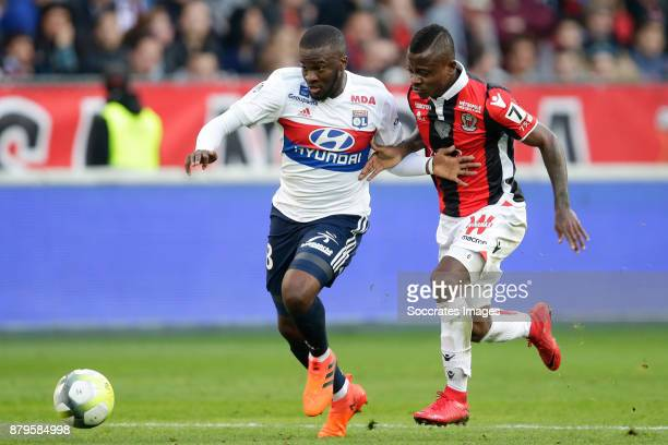 Tanguy Ndombele Alvaro of Olympique Lyon Jean Michael Seri of Nice during the French League 1 match between Nice v Olympique Lyon at the Allianz...
