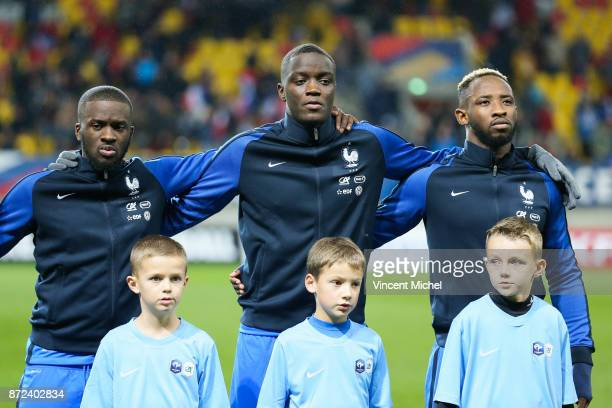 Tanguy Ndombele Mouctar Diakhaby and Moussa Dembele of France during the Under 21s Euro 2019 qualifying match between France U21 and Bulgaria U21 on...