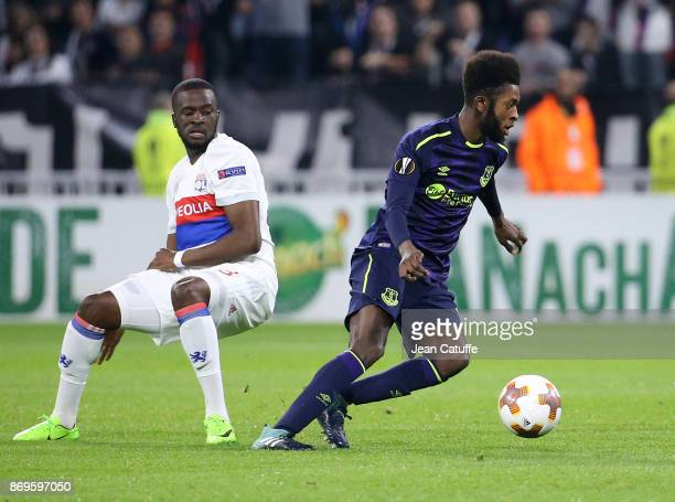 Tanguy Ndombele of Lyon Beni Baningime of Everton during the UEFA Europa League group E match between Olympique Lyonnais and Everton FC at Groupama...