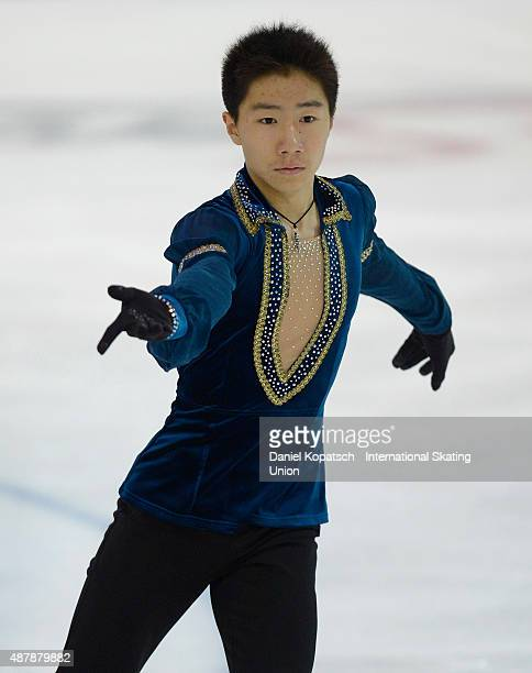 Tangxu Li of China skates during junior men free skating of ISU Junior Grand Prix of figure skating on September 12 2015 in Linz Austria