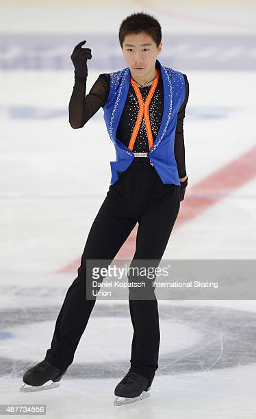 Tangxu Li of China skates during junior men short programm of ISU Junior Grand Prix of figure skating on September 11 2015 in Linz Austria
