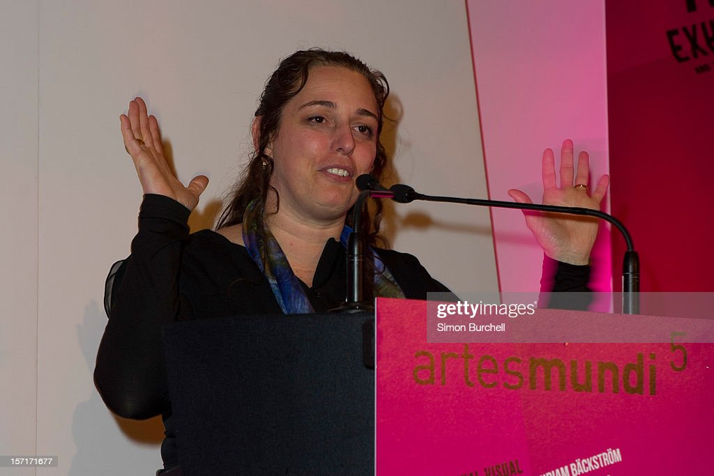 Tania Bruguera speaks as Teresa Margolles was today announced as the winner of the Artes Mundi 5 prize at the National Museum Cardiff by chair of the judging panel, Tim Marlow on November 29, 2012 in Cardiff, Wales. The Award ceremony was attended by all of the shortlisted artists as well as the first minister of Wales, Rt Hon Carwyn Jones AM. Teresa Margolles was chosen from the shortlist of seven international artists and their work is currently being shown at an exhibition at the museum that will close 31 January 2013.