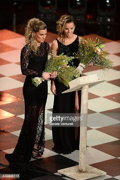 Tania Cagnotto and Francesca Dallape attend the opening night of the 64th Festival di Sanremo 2014 at Teatro Ariston on February 18 2014 in Sanremo...