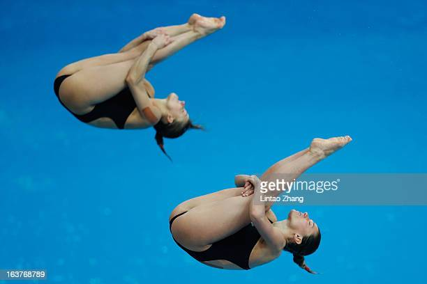 Tania Cagnotto and Francesca Dallape of Italy compete in the Women's 3m Synchro Springboard Final during day one of the FINA/Midea Diving World...