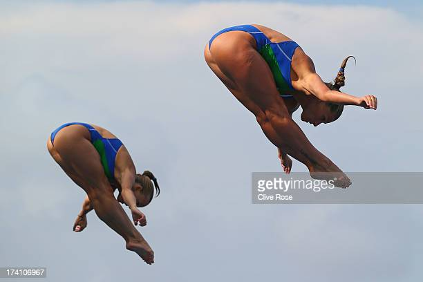 Tania Cagnotto and Francesca Dallape of Italy compete in the Women's 3m Springboard Synchronised Diving final on day one of the 15th FINA World...