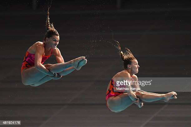 Tania Cagnotto and Francesca Dallape of Italy compete in the Women's 3m Springboard Synchronised Diving Final on day one of the 16th FINA World...