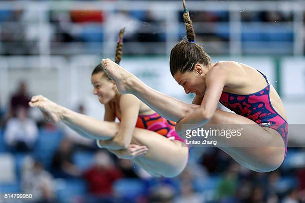 Tania Cagnotto and Francesca Dallape of Italy compete in the Women's 3m Springboard Synchro Final during day one of the FINA/NVC Diving World Series...