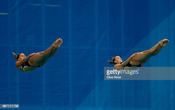 Tania Cagnotto and Francesca Dallape of Italy compete in the Women's Diving Synchronised 3m Springboard Final on Day 2 of the Rio 2016 Olympic Games...