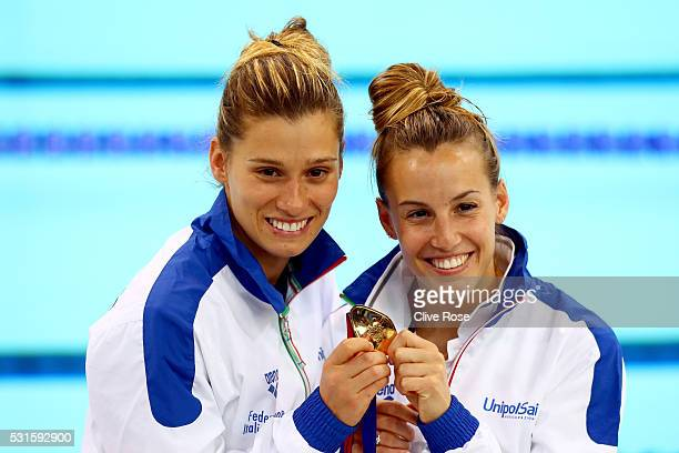Tania Cagnotto and Francesca Dallape of Italy pose with their gold medal after winning the Women's 3m Synchro Final on day seven of the 33rd LEN...