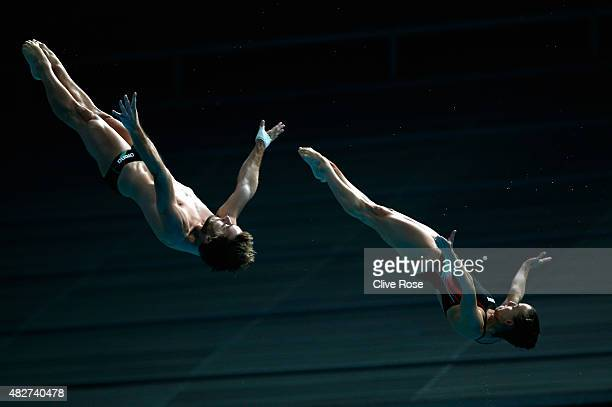 Tania Cagnotto and Maicol Verzotto of Italy compete in the 3m Springboard Synchronised Mixed Diving Final on day nine of the 16th FINA World...