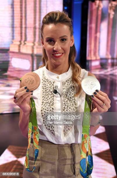 Tania Cagnotto attends 'Che Tempo Che Fa' tv show at Rai Milan Studios on May 14 2017 in Milan Italy