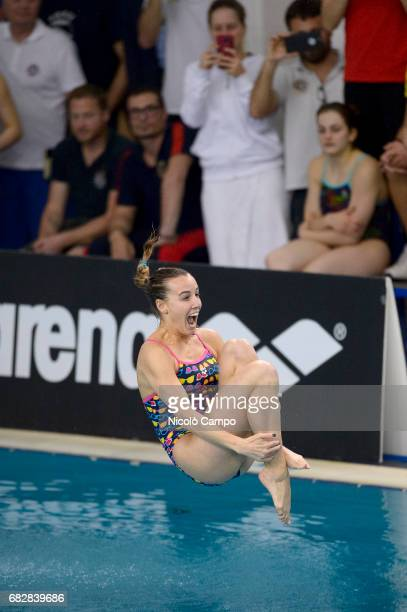 Tania Cagnotto dives after the competition during the 2017 Indoor Diving Italian Championships Tania Cagnotto announced that this will be her last...