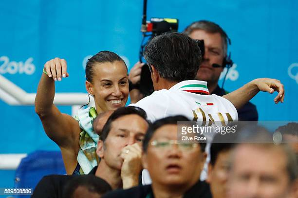 Tania Cagnotto of Italy celebrates the Women's Diving 3m Springboard Final on Day 9 of the Rio 2016 Olympic Games at Maria Lenk Aquatics Centre on...