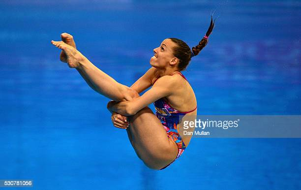 Tania Cagnotto of Italy competes in the 1m Springboard Final on day three of the LEN European Swimming Championships at the Aquatics Centre on May 11...