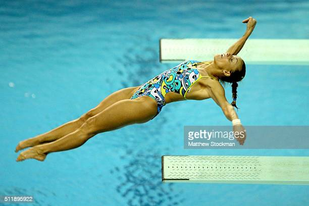 Tania Cagnotto of Italy competes in the final of the women's 3m Springboard during the FINA Diving World Cup Aquece Rio Test Event for the Rio 2016...