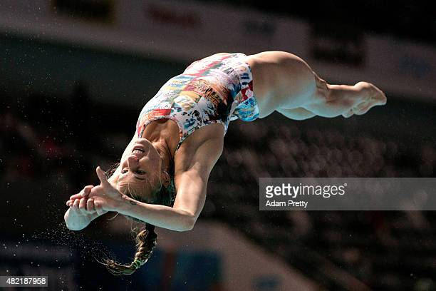 Tania Cagnotto of Italy competes in the Women's 1m Springboard Diving Final on day four of the 16th FINA World Championships at the Aquatics Palace...