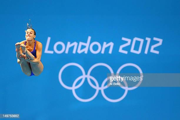 Tania Cagnotto of Italy competes in the Women's 3m Springboard Diving Preliminary Round on Day 7 of the London 2012 Olympic Games at the Aquatics...