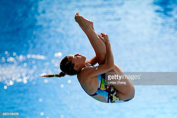 Tania Cagnotto of Italy competes in the Women's 3m Springboard Final during day six of the 19th FINA Diving World Cup at the Oriental Sports Center...