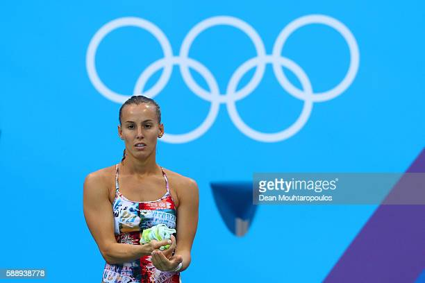 Tania Cagnotto of Italy competes in the Women's Diving 3m Springboard Preliminary Round on Day 7 of the Rio 2016 Olympic Games at Maria Lenk Aquatics...