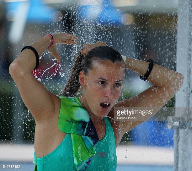 Tania Cagnotto of Italy takes a shower during the Italian Diving Championship at Piscine del Foro Italico on June 20 2016 in Rome Italy