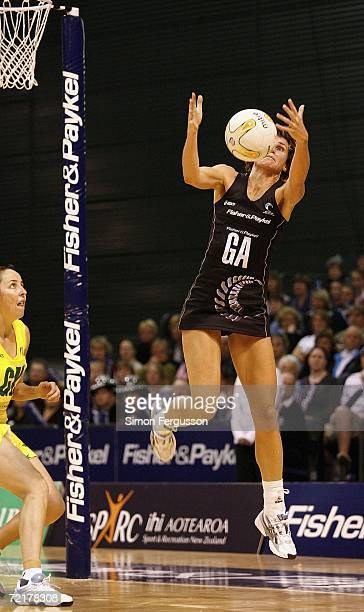 Tania Dalton of New Zealand makes a midair catch during the third netball test match between the New Zealand Silver Ferns and Australia at Westpac...
