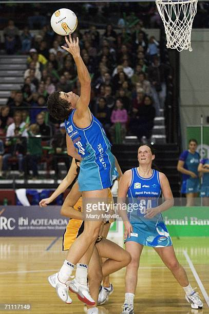 Tania Dalton of the Sting in action during the Bartercard Cup match between the Wellington Shakers and the Southland Sting at the Wellington Events...