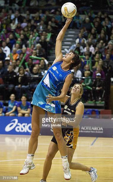 Tania Dalton of the Sting takes a pass during the Bartercard Cup match between the Wellington Shakers and the Southland Sting at the Wellington...