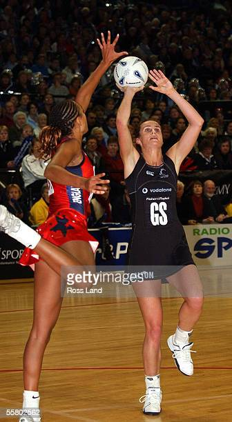 Tania Dalton shoots for goal as Geva Mentor defends during the second New Zealand V England netball test won 5535 by the Silver Ferns at the Queens...