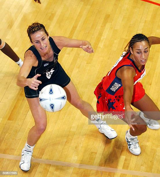 Tania Dalton stakes a catch ahead of Geva Mentor during the second New Zealand V England netball test won 5535 by the Siver Ferns at the Queens Wharf...
