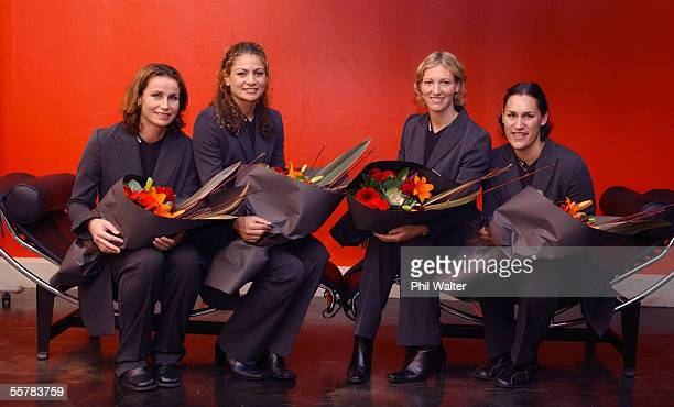 Tania Dalton Temepara Clark Anna Rowberry and Jodi Te Huna at the announcement of the Silver Fern team for the upcoming Fisher and Paykel series and...