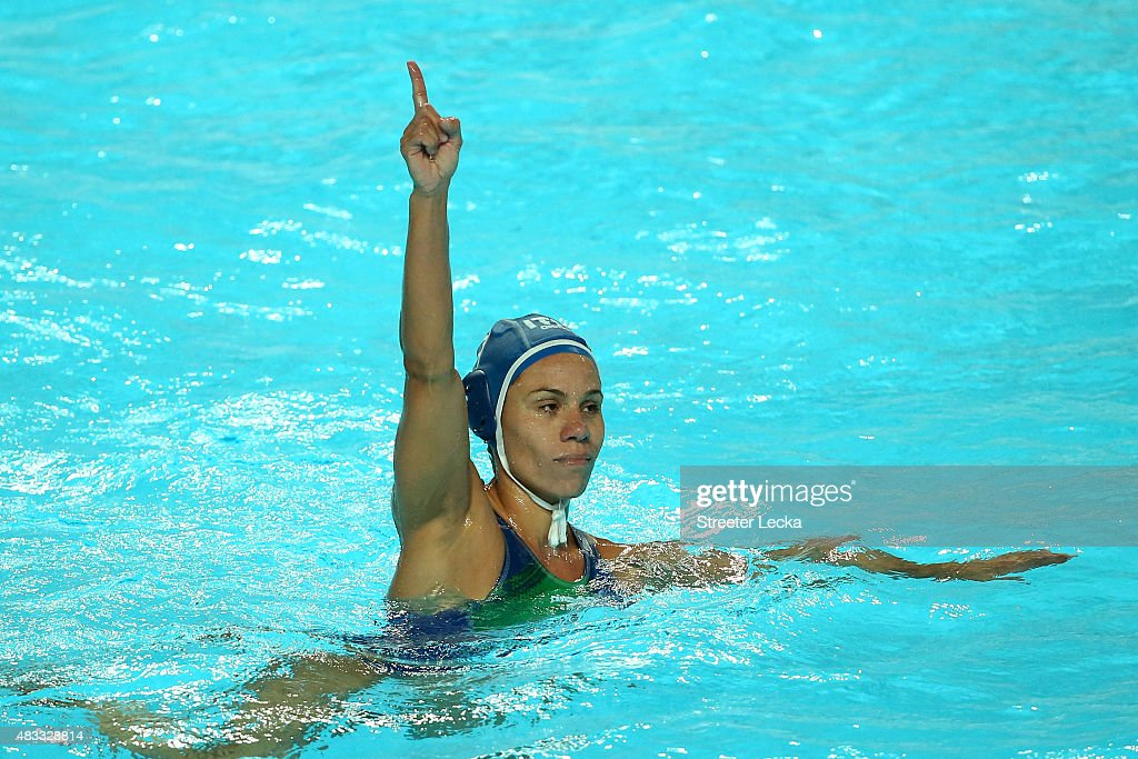 Tania Di Mario #7 of Italy celebrates after scoring a goal in the Women's bronze medal match between Australia and Italy on day fourteen of the 16th FINA World Championships at the Water Polo Arena on August 7, 2015 in Kazan, Russia.