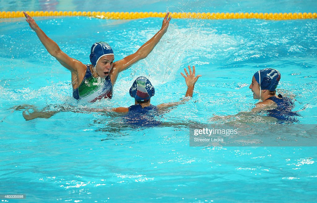 Tania Di Mario (L) of Italy celebrates victory with Arianna Garibotti (C) and Laura Barzon (R) in the Women's bronze medal match between Australia and Italy on day fourteen of the 16th FINA World Championships at the Water Polo Arena on August 7, 2015 in Kazan, Russia.