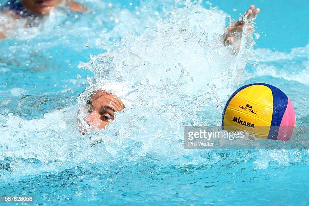 Tania di Mario of Italy keeps an eye on the ball during the Preliminary Round Group A Womens Waterpolo match between Italy and Brazil on Day 4 of the...