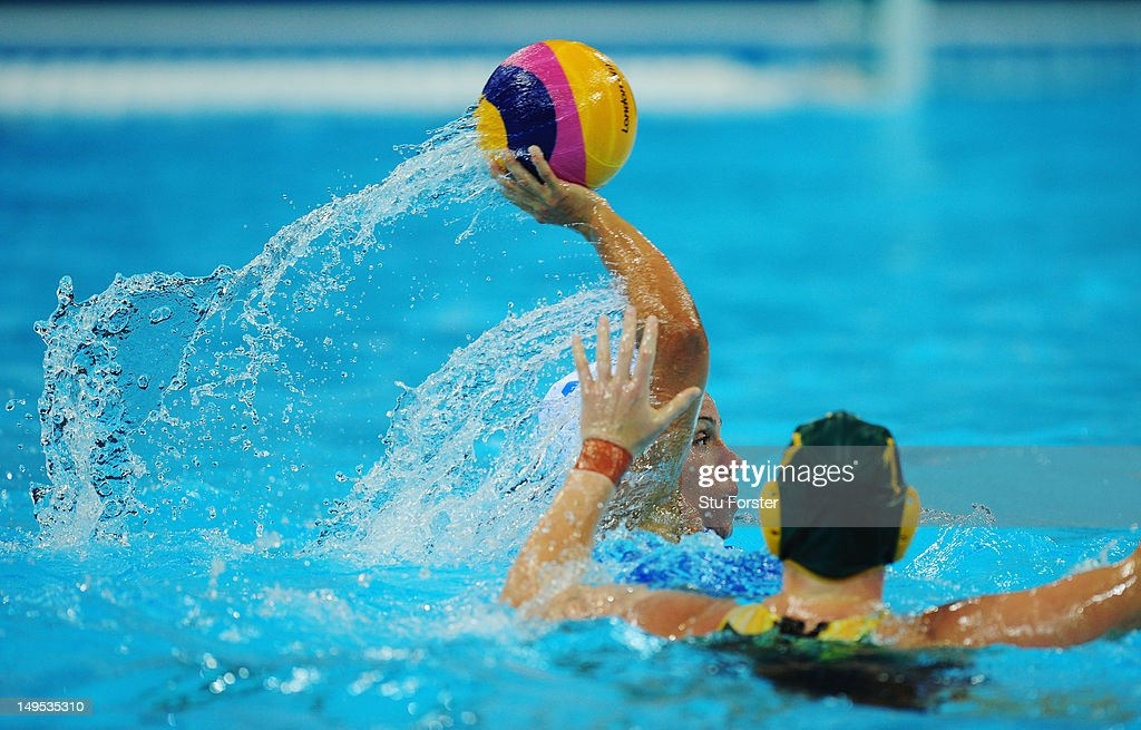 Tania Di Mario of Italy looks for a pass during the Women's Water Polo Preliminary match between Italy and Australia on Day 3 of the London 2012 Olympic Games at Water Polo Arena on July 30, 2012 in London, England.