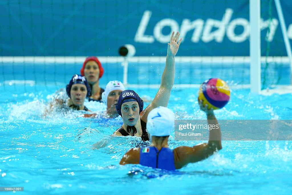 Tania di Mario #7 of Italy looks to pass the ball during the Women's Water Polo Classification 7-8 match between Italy and Great Britain on Day 13 of the London 2012 Olympic Games at the Water Polo Arena on August 9, 2012 in London, England.