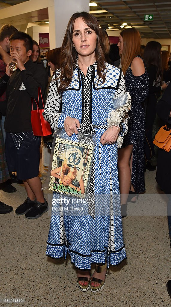 Tania Fares attends a party hosted by Bay Garnett to celebrate the launch of her latest project 'Fanpages' enjoying Perrier-Jot at Dover Street Market on May 25, 2016 in London, England.