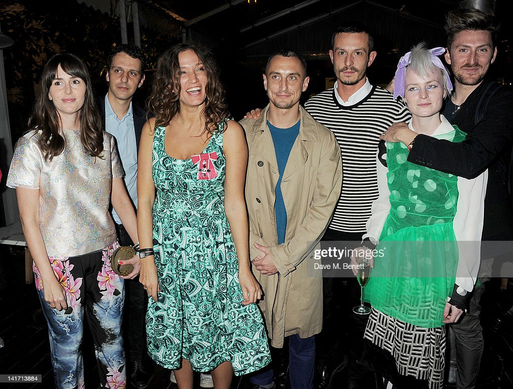 Tania Fares Marios Schwab Lulu Kennedy Richard Nicoll Jonathan Saunders Louise Gray and Henry Holland attend a tea party hosted by fashion designer...