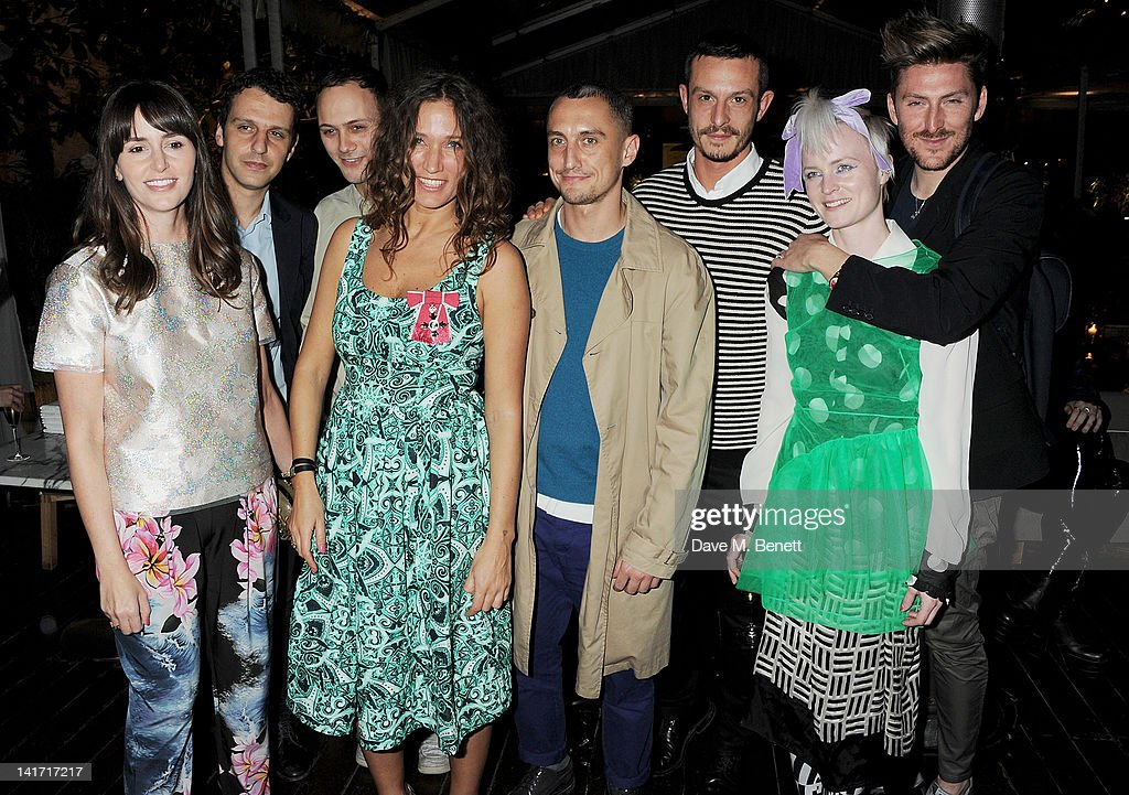 Tania Fares Marios Schwab Michael Van Der Ham Lulu Kennedy Richard Nicoll Jonathan Saunders Louise Gray and Henry Holland attend a tea party hosted...