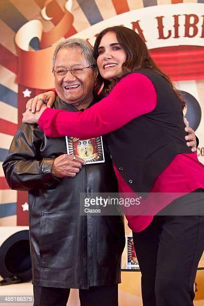 Tania Libertad and Armando Manzanero pose for a photo during the presentation of Tanias new album Tania Libertad Manzanero a 3 Pistas at W Hotel on...